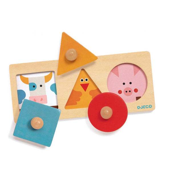 Wooden shapes and animal toy puzzle with blue square and cow yellow triangle and chicken red circle and pig