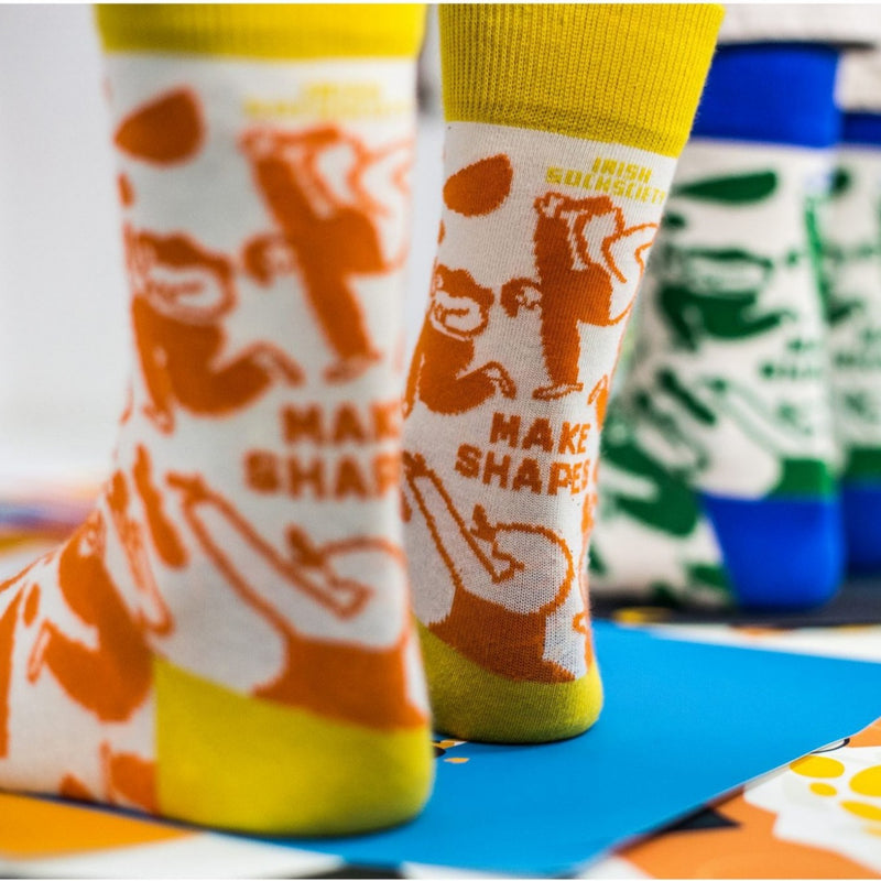 Make Shapes Socks by Fuchsia MacAree - Yellow & Orange