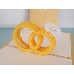 Gold Wedding Rings Pop Up Card