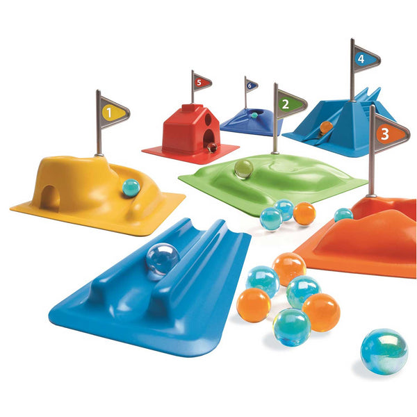 marbles game with six coloured differently designed plastic marble tracks each with a numbered silver plastic flag and orange and blue marbles