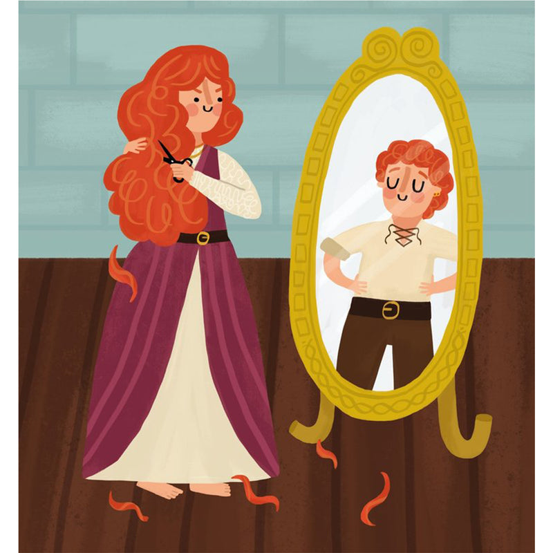 page from book. cartoon of granuaile looking looking in a mirror while cutting her hair in a long purple gown. in the reflection there is a short haired  proudly stood granuaile in pirate clothing.