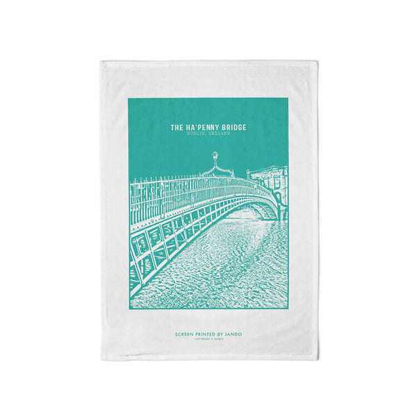 teal tea towel with teal image of ha'penny image and white border on tea towel. there is a white background.