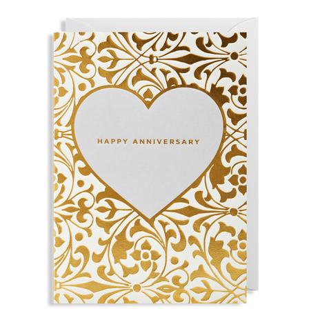 Happy Anniversary: Gold heart emboss