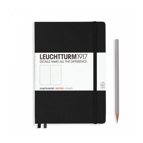 Leuchtturm1917 A5 Hardcover Notebook - Black - Dotted