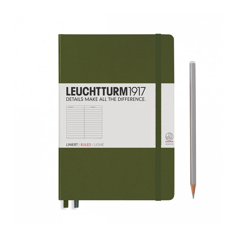 Leuchtturm1917 A5 Hardcover Notebook - Army Green - Ruled
