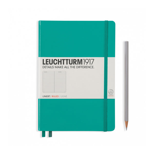 Leuchtturm1917 A5 Hardcover Notebook - Emerald - Ruled