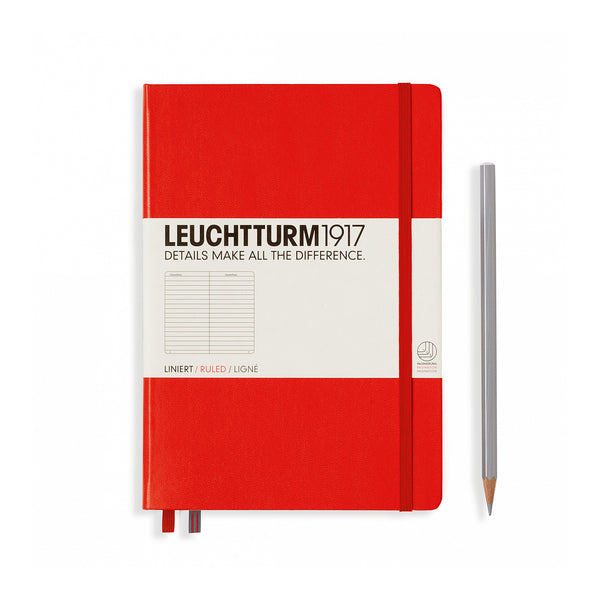 Leuchtturm1917 A5 Hardcover Notebook - Red - Ruled