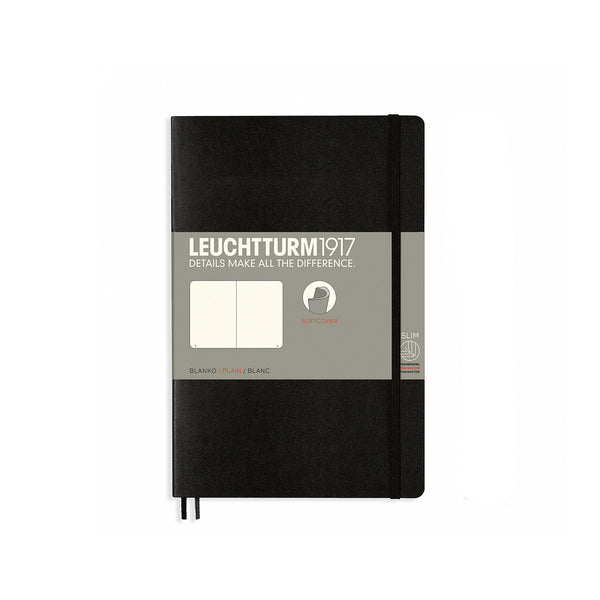 Leuchtturm1917 B6 Soft Cover Notebook - Black - Plain
