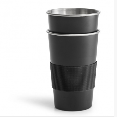 Pair of Stainless Steel Cups - Black
