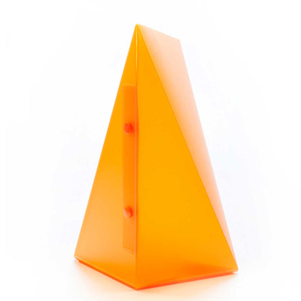 side view of orange triangle lamp with two buttons on side against a white background