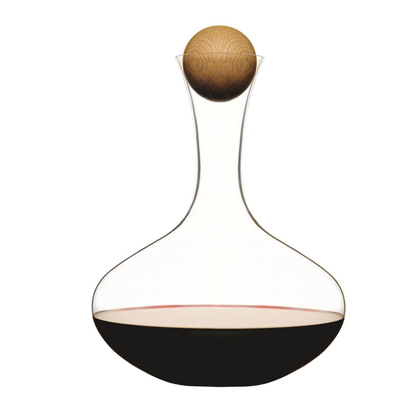 Oval Oak Decanter - with Cleaning Balls