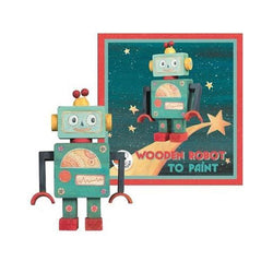 Paint Your Own Wooden Robot
