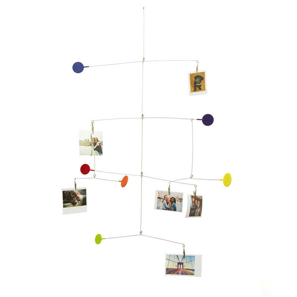 Steel wire mobile with six coloured circles  and six photographs