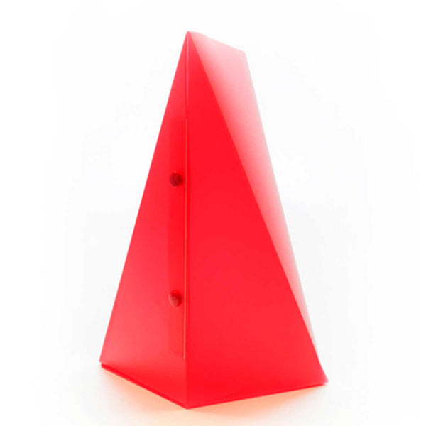 side view of red triangle lamp with two buttons on side against a white background