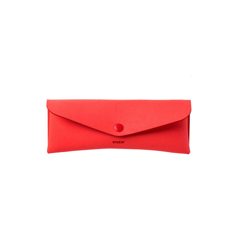 red pencil case with closed envelope style flap and red button