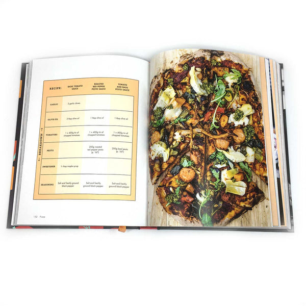 open pages of the book on a white background. the right page shows a vegan pizza. the left pages shows a recipe in a grid