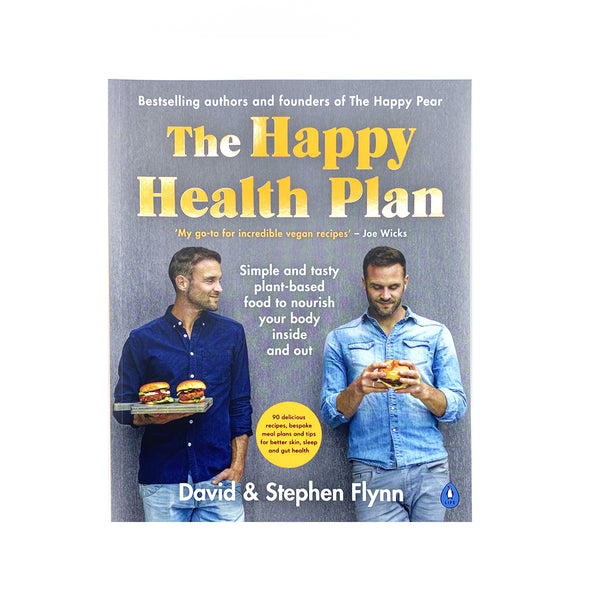 cover of the book on a white background. the 'happy pear' brother are standing and holding burgers. one is looking at the burger white the other brother. there is a description of the book and the authors in white text. the title of the book in large, yellow text.