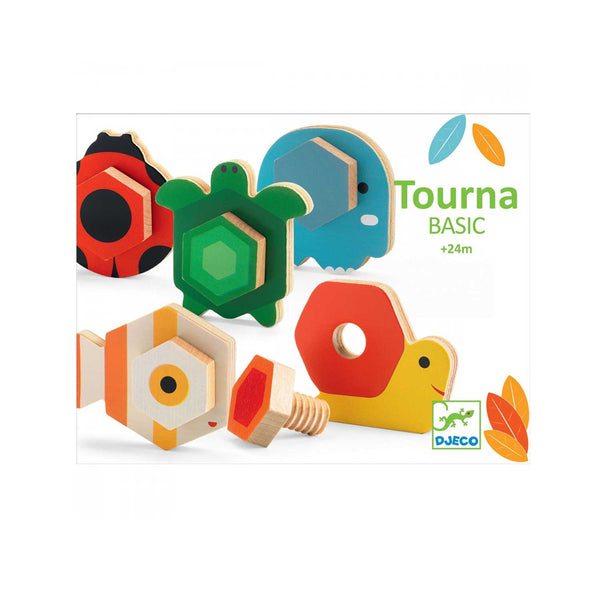 Tourna Basic wooden toy product box five painted wooden animal toys, snail, elephant, fish, turtle and ladybug with wooden screw attachment