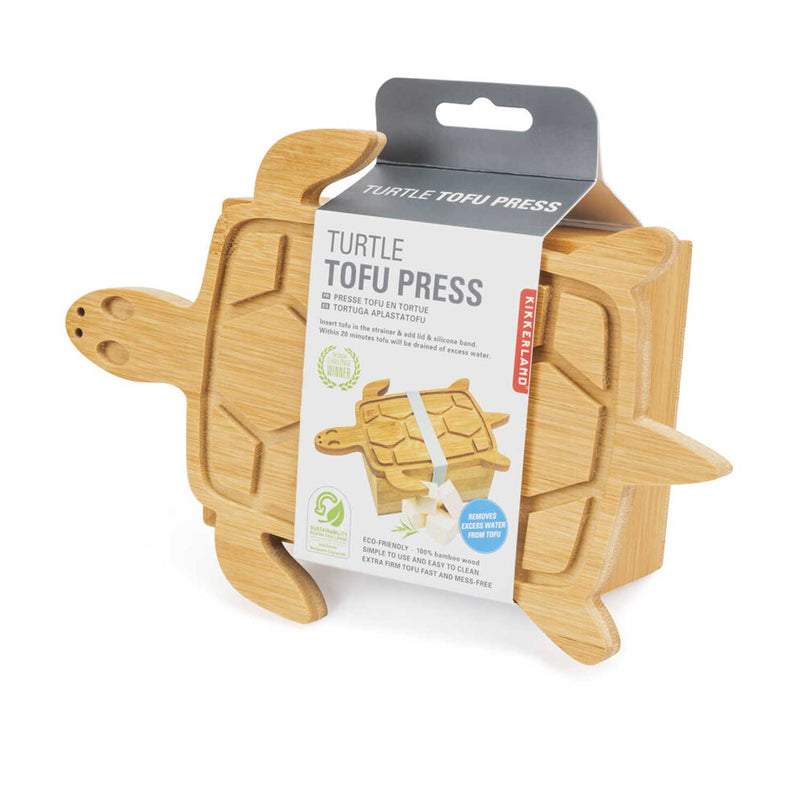 wooden Turtle tofu press  with turtle shaped box encased in cardboard  white and grey product sleeve