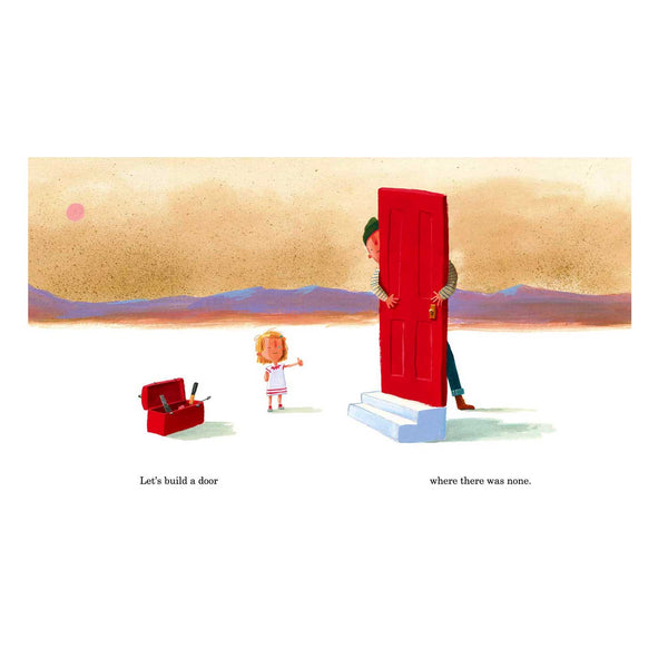 page from book. illustration where a child points to a red door the father is holding. there is a red tool box and text in black also.