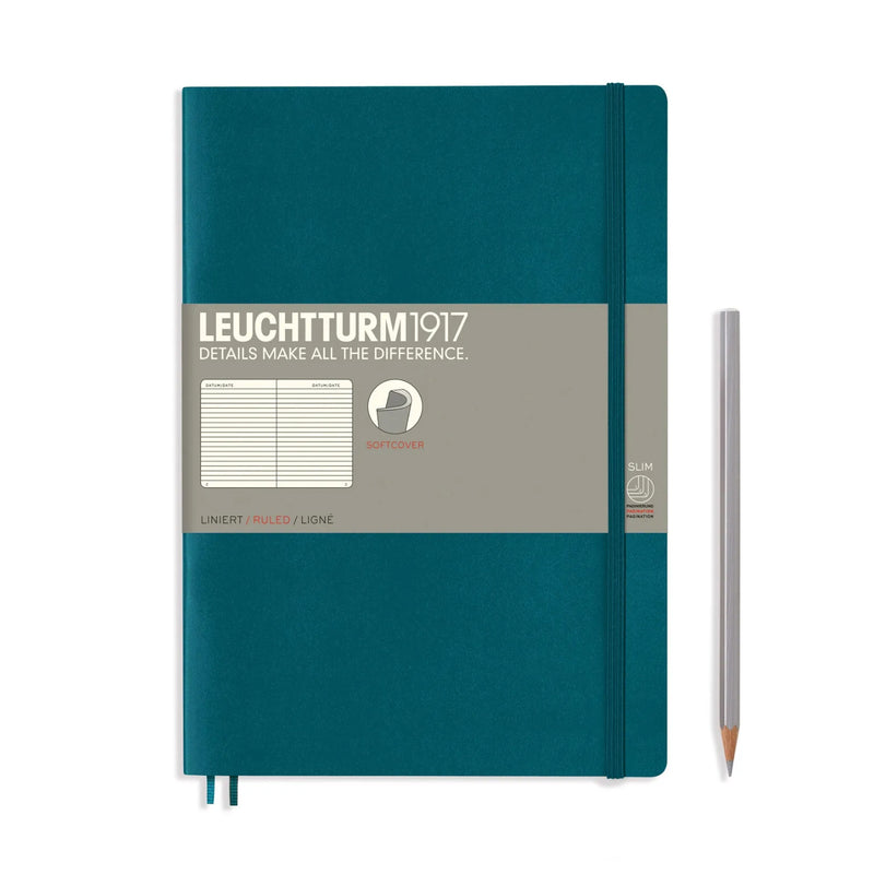 Leuchtturm1917 B5 Soft Cover Notebook - Pacific Green - Ruled