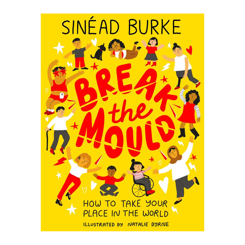 book cover with title in red, author name in black and many cartoon characters of all skin tones, body shapes and abilities. the background of the cover is yellow and there is a white border around the image.