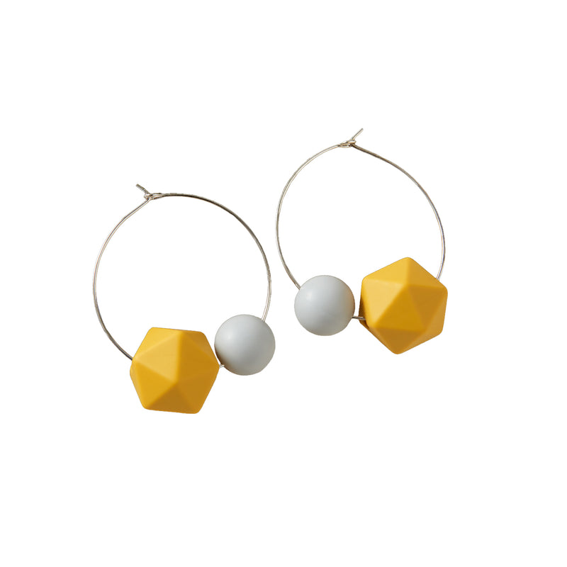 Hooped Earrings with two Silicone Beads