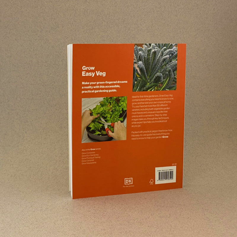 the back of the easy veg book. it is orange with a mix of images and text