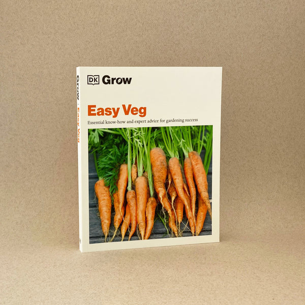 easy veg. A softback book standing up. White with a picture of carrots.