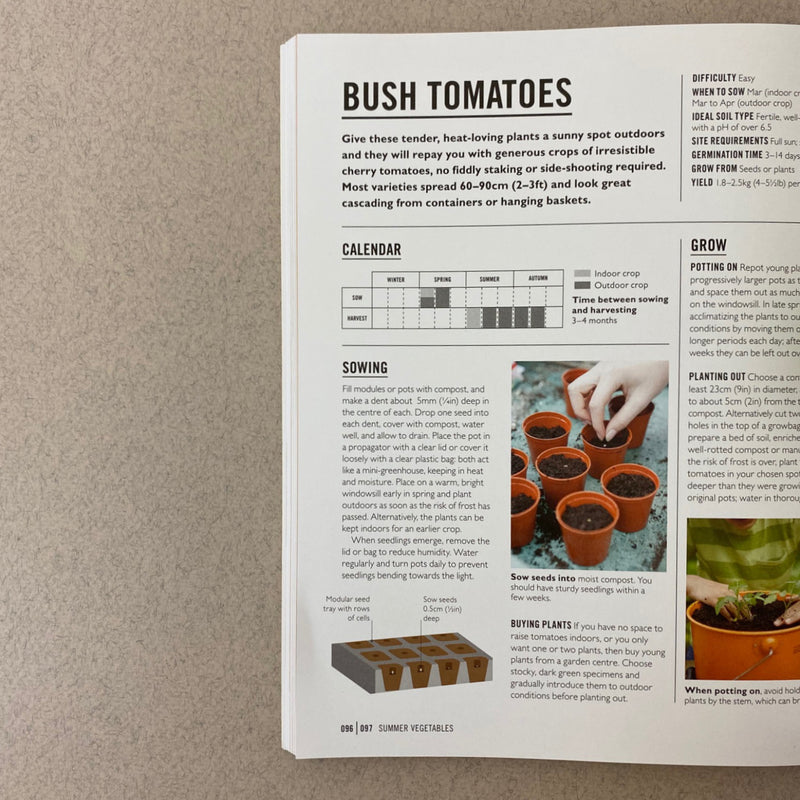 one page from inside easy verg opened up. describing how to grow bush tomatoes