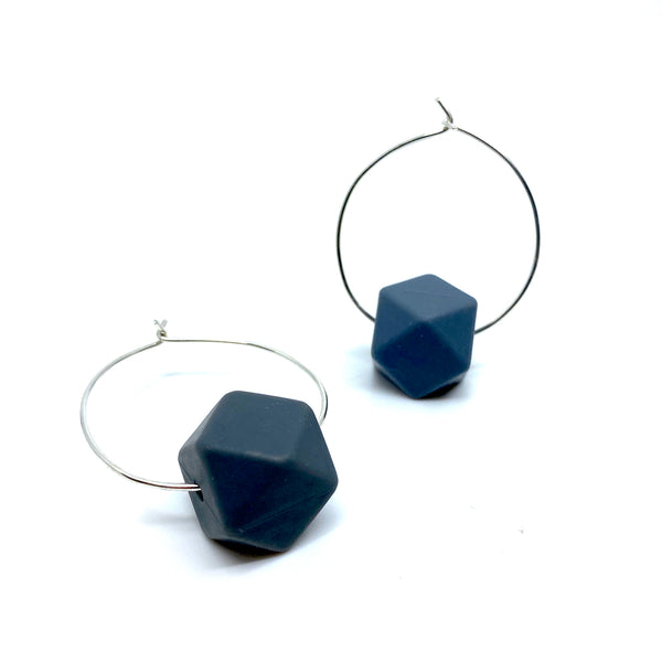 Hooped Earrings with Silicone Bead