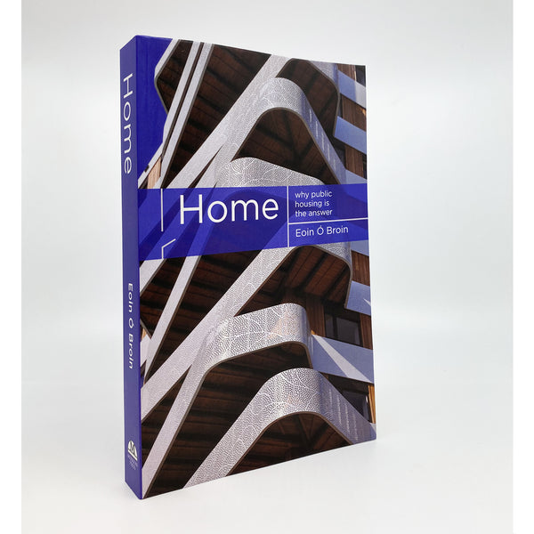 cover of book. image of a housing compolext that has 9 floors with curved, unaligned edges. there is a purple banner with the name of the book and author in white text across the middle of the cover.