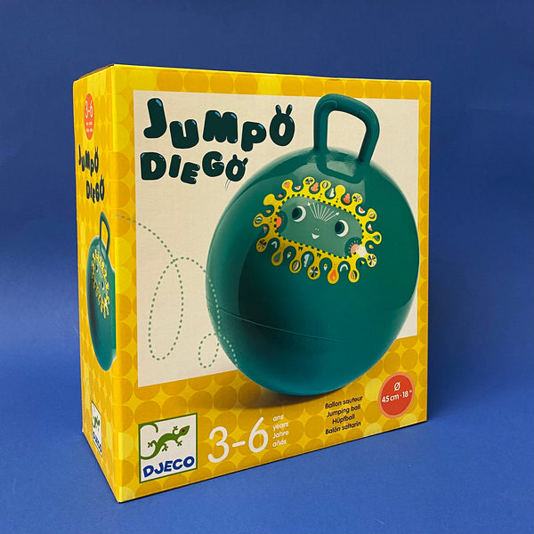 Jumpo Diego Hopper yellow and white product box with blue hopper ball on cover with a smiling face on front on navy background