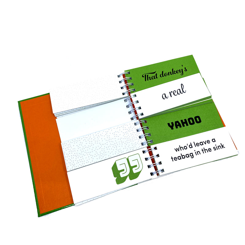 open spread of pages in the book. The inside cover is orange. the flip book pages are open in four slots alternating white and green with text from the book on each. the four slots read ' that donkey's a real yahoo who'd leave a teabag in the sink'