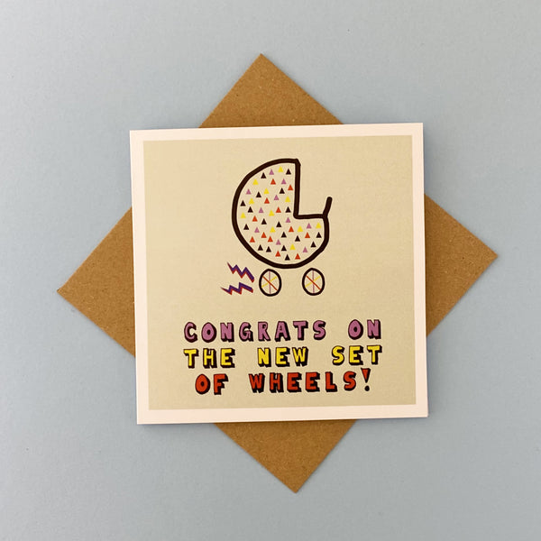 new baby card with pram by lainey k