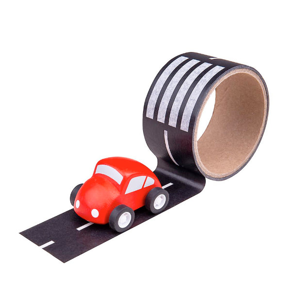 Road Tape and Wooden Car