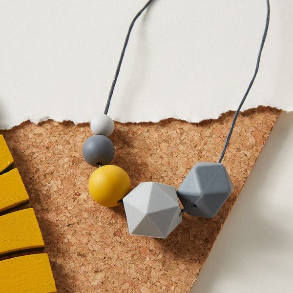 Silicone Necklace - small grey and mustard mix