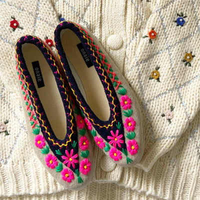 Daisy Embroidered Slippers