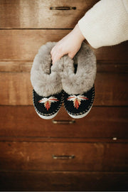Grey Handmade Sheepskin Slippers - ONAIE