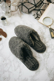 WOMEN'S GREY WOOL MULES - ONAIE
