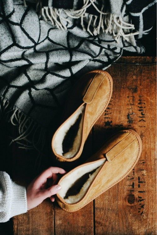 Light Brown Sheepskin Slipper Boots - ONAIE