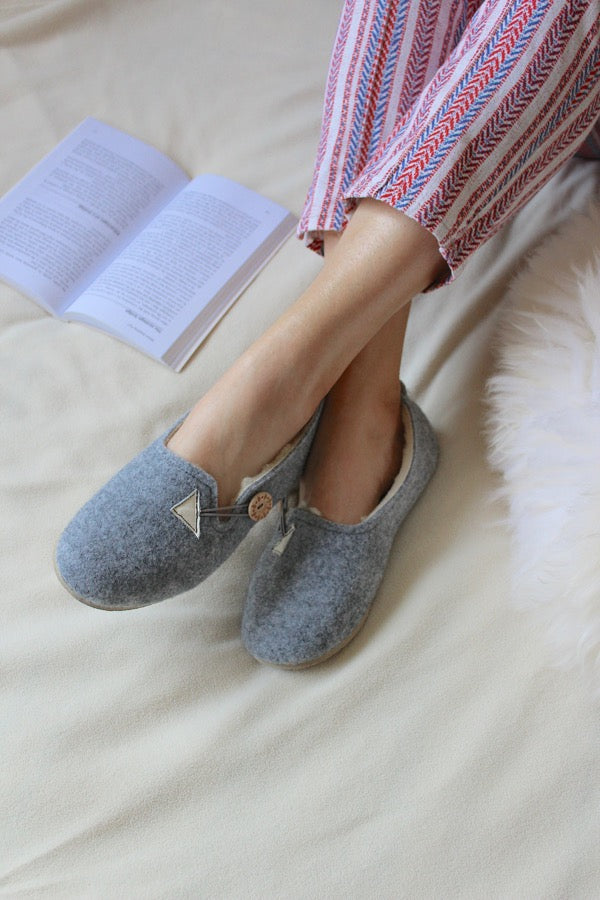 Grey Felt Wool Slippers