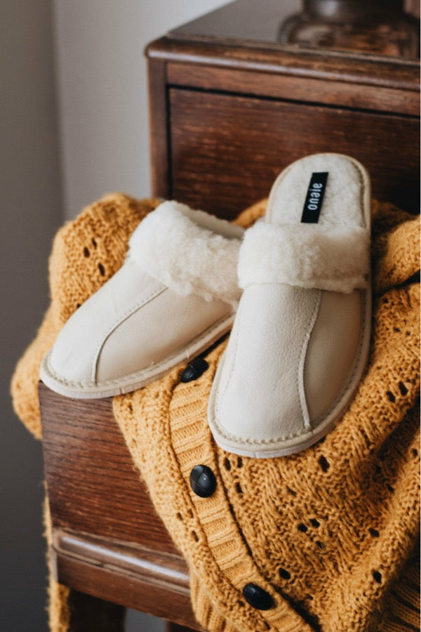 Cream Christmas Slippers