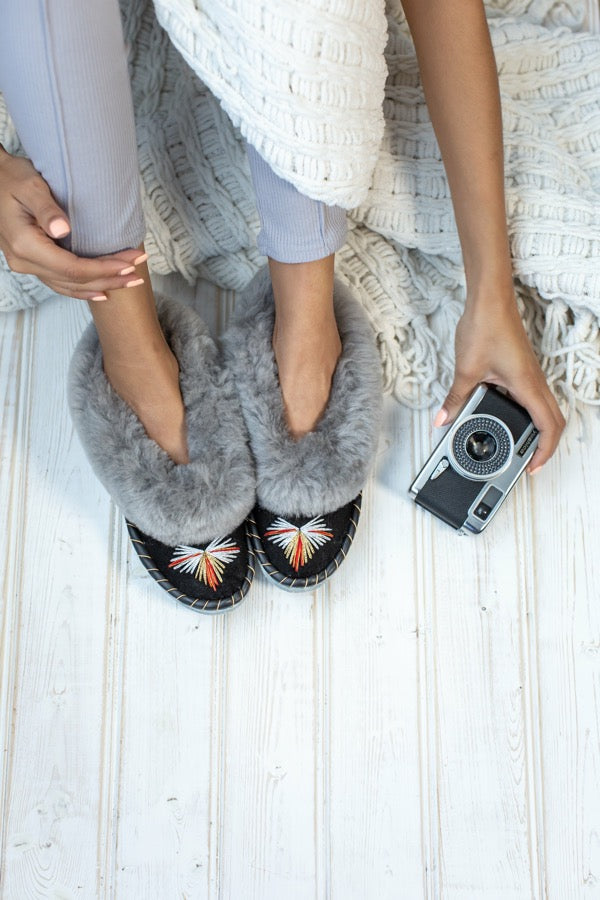 Butterfly Grey Sheepskin Slippers - ONAIE