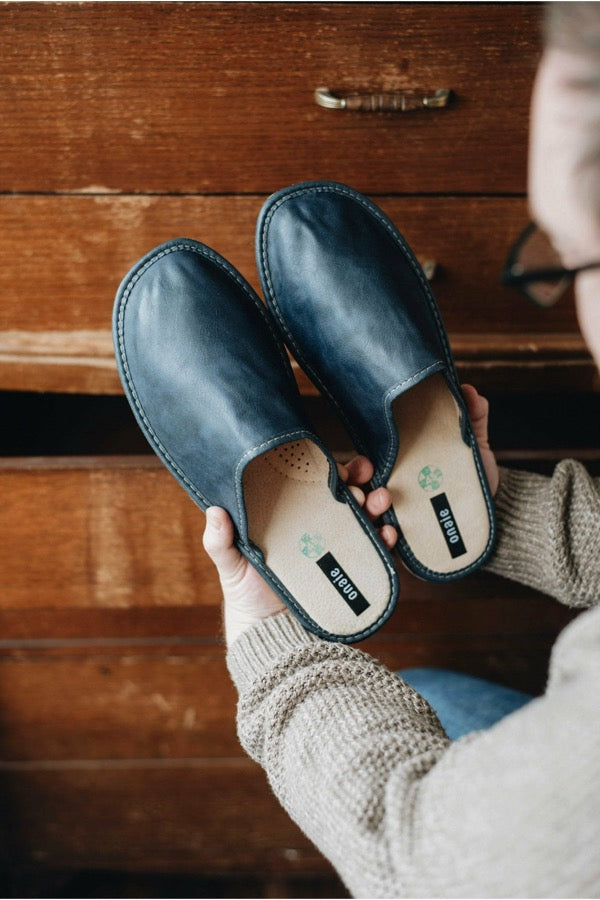 Dark Blue Leather Slippers - ONAIE
