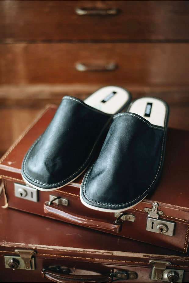 Black Leather Slippers - ONAIE