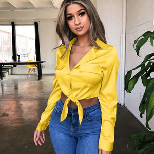 Yellow Satin Button Front Shirt