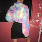 Tie Dye Long Sleeve Zipper Crop Top