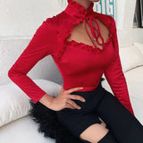 Red Satin Hollow Out Cropped Blouse