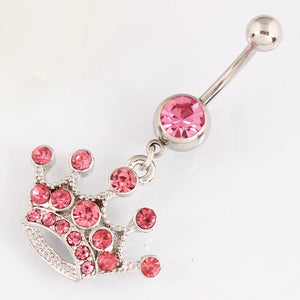 Pink Gem Crown Navel Ring